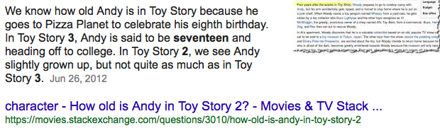 Andys age in toy story